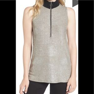 Trouve silver metallic quarter zip tunic